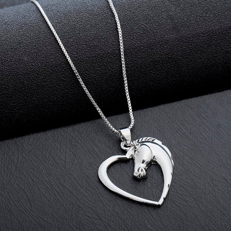 Sale silver love heart horse pendant necklace affinity shop sale silver love heart horse pendant necklace mozeypictures Gallery
