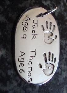 Oval Hand or Footprint Keyring