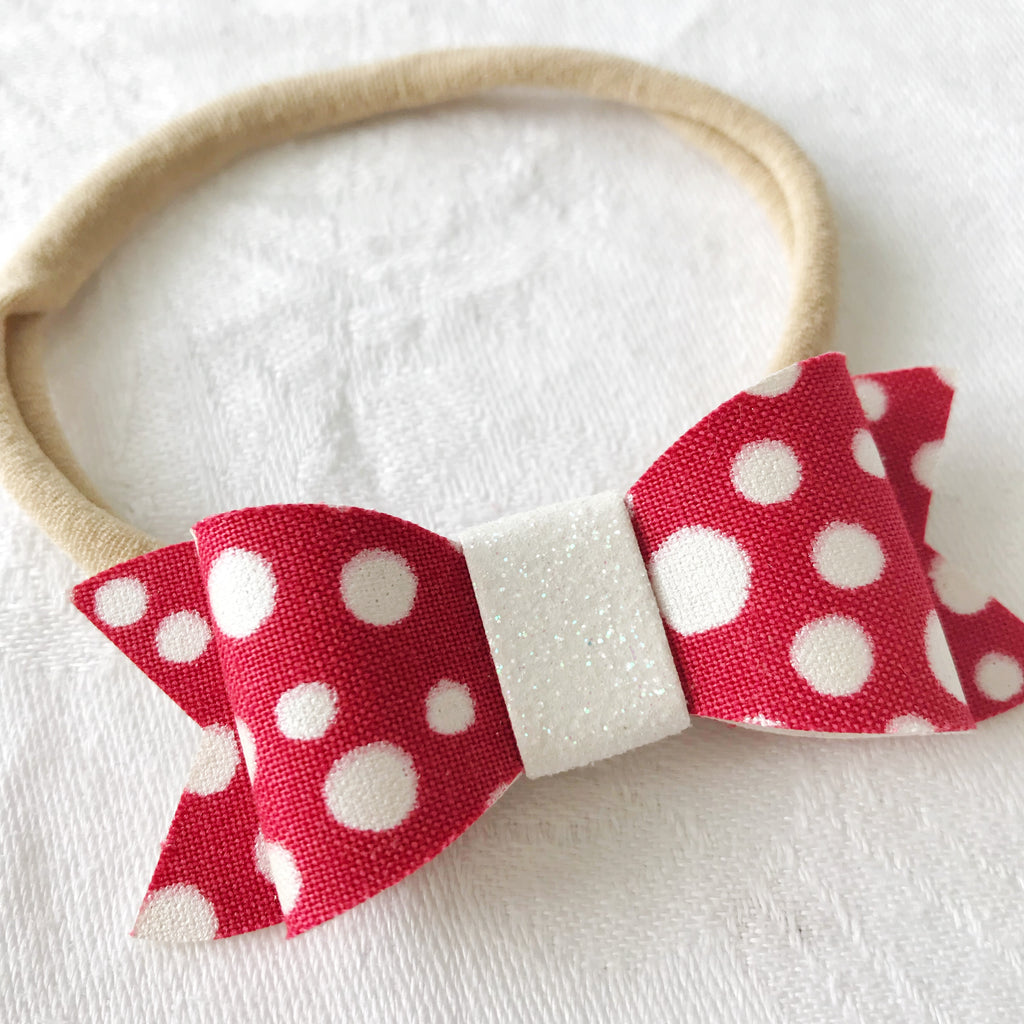 Red and White Spot Christmas Bow for Babies, Toddlers and Kids