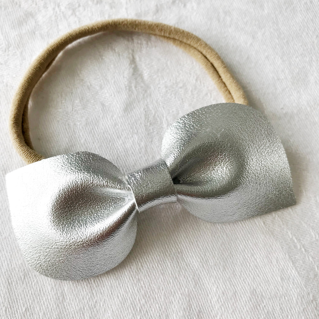 Silver Christmas Bow for Babies, Toddlers and Kids