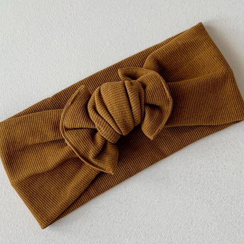 Chocolate | Knit Cotton Topknot Headband COMING SOON