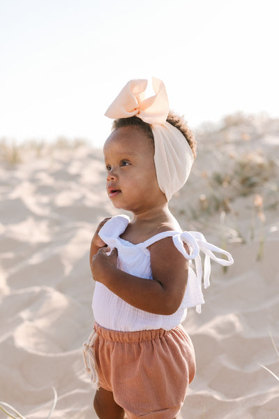 Latte | Big Bow Headband Wrap