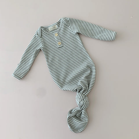 Eucalyptus Stripe | Newborn Sleep Gown