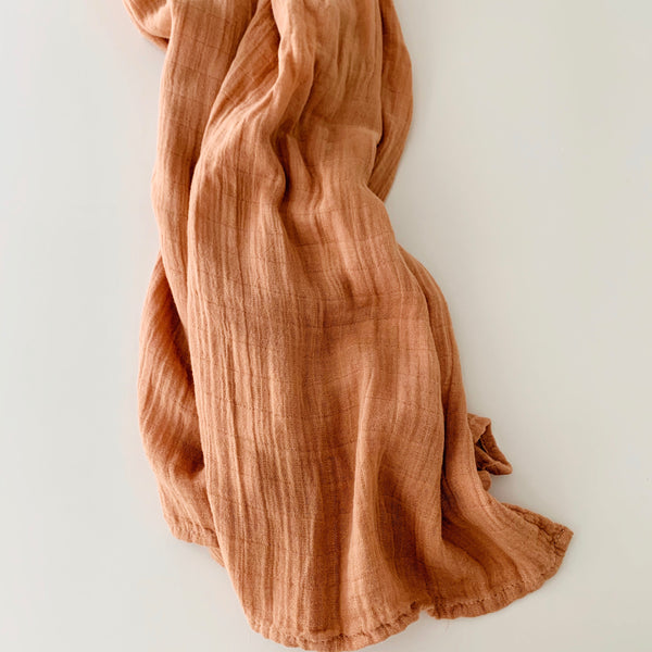 organic bamboo swaddle blanket 'sapling' | clay