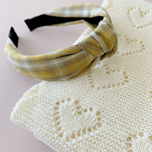 Mustard Plaid | Topknot Headband