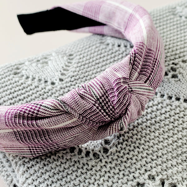 Lilac Plaid | Topknot Headband