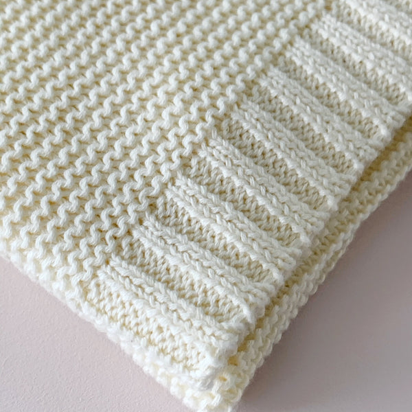 Cream | 100% Cotton Soft Knit Baby Blanket