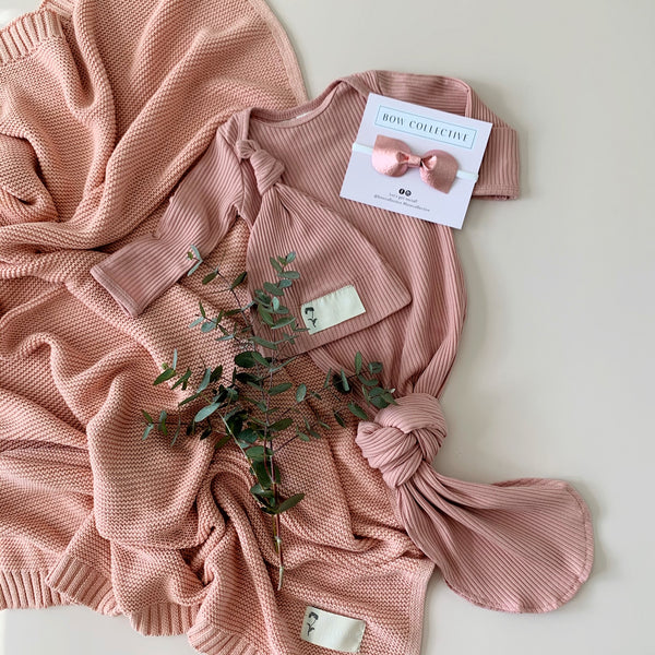 Dusty Pink | Newborn Sleep Gown + Beanie