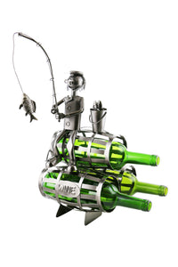 Fisherman on 3 barrels wine bottle buddy product image.  Features fisherman holding a fishing pole with a fish hooked on its line sitting on top of three barrels.  The caddy is handcrafted of recycled metal and made to hold three 750ml bottles of your choice.