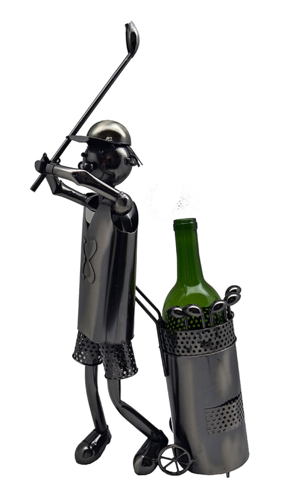 Golfer with bag wine bottle buddy features a golfer swinging a golf club standing next to his wheeled golf bag.  Golfer's head is attached to a chain that extends to sit on top of the bottle.  Bottle not included.