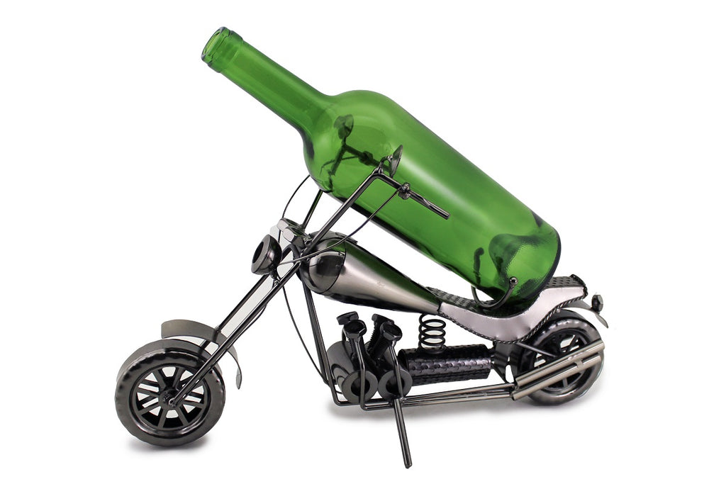 Harley Wine Bottle Buddy Features a handcrafted metal Harley motorcycle with wheels and kickstand.  This Harley holds a standard size, 750 ml bottle.  The bottle rest of the seat and is held up between the handle bars.  Bottle not included.