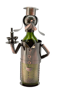 Dog Waiter Wine Bottle Buddy product image Features a long eared metal dog, standing upright, dressed in top hat and holding a tray with two wine glasses and a botlle.
