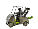 Golf Cart Wine Bottle Image. Features golfer in a metal golf cart carrying two golf bag with irons. Slot underneath golf cart holds a standard size 750 ml bottle not included.