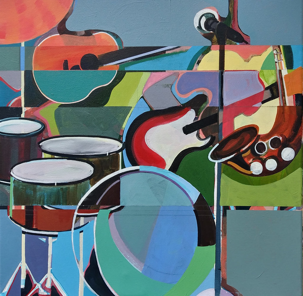 "Late Night Groove, by Memphis artist, Carl Scott features drums, guitars, saxophone  and a microphone stand.  Medium is acrylic in blues, reds, yellow, orange and greens.  Measures 20"" x 20"".  Wrapped Canvas. Comes ready to hang."
