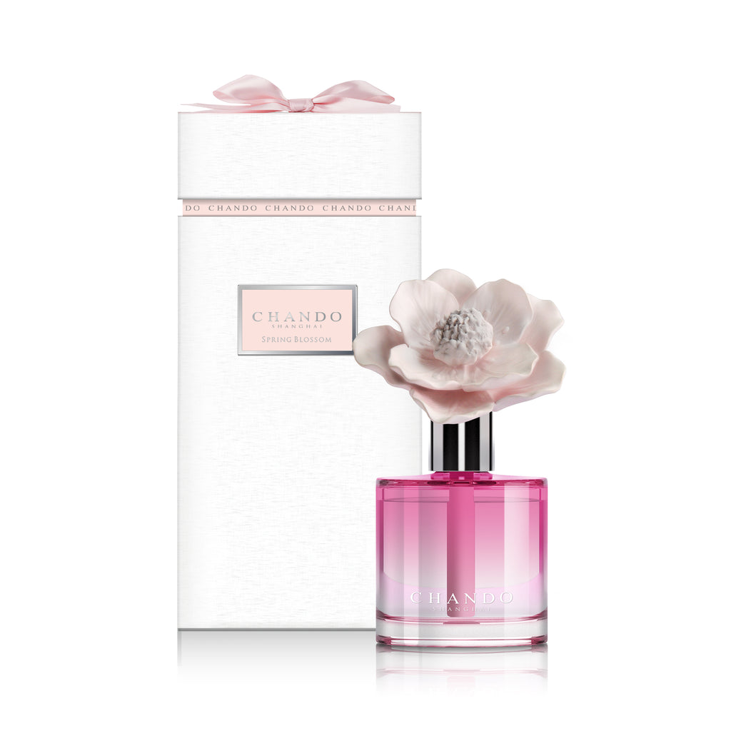 Chando Youth Scent of Ardor- Spring Blossom product image features 1 pink glass bottle filled with Chando Spring Blossom oil fragrance.  Gorgeous Chando packaging.   Elegant decorative diffuser.   Mother's Day gift.  Hostess gift. Housewarming gift. Unique birthday gift.