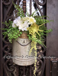 "Special Delivery product image.  Features a 9""x4""x11"" weathered postal box, white dahlia flower, white hydrangea, large white open rose, light green eichornia bokay, button ferns, cedar ferns, maidenhair ferns, succulent string of pearls.  Finished arrangement is 20-inches high from top to bottom."