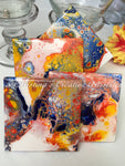 Color time Gathering 2 ceramic coasters product image.  Features hand-painted , 4x4 ceramic coasters in navy blue, orange, yellow acrylics on white background.  Set of 4.  Cork backed.  Coaster stand included