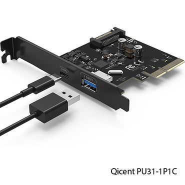 QICENT 2 Ports PCI-E to USB 3.1 Expansion Card PU31-2P