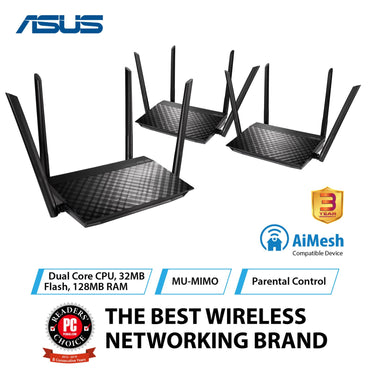 Asus RT-AC59U V2 (3 Pack) AC1500 Dual Band Gigabit WiFi Router with MU-MIMO, AiMesh for mesh wifi system and Parental Controls for smooth streaming 4K videos from Youtube and Netflix