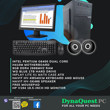"Intel Pentium G6400 Dual Core | 8GB RAM | 1TB HDD | Keyboard | Mouse | Speaker | 18.5"" LED Package Desktop"