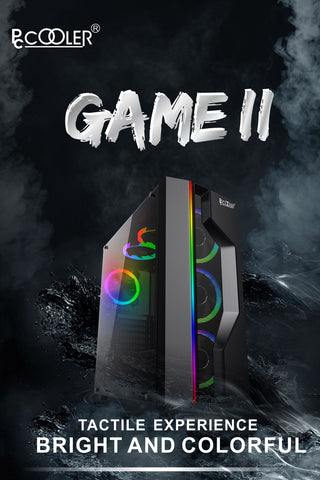 PCcooler GAME Ⅱ Black ATX TG Mid Tower Case (with 1*120mm fan)