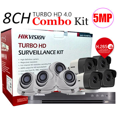 Hikvision (Package) TVI-8CH4D4B-5MP 8channel DVR, 4x Dome, 4x Bullet Camera