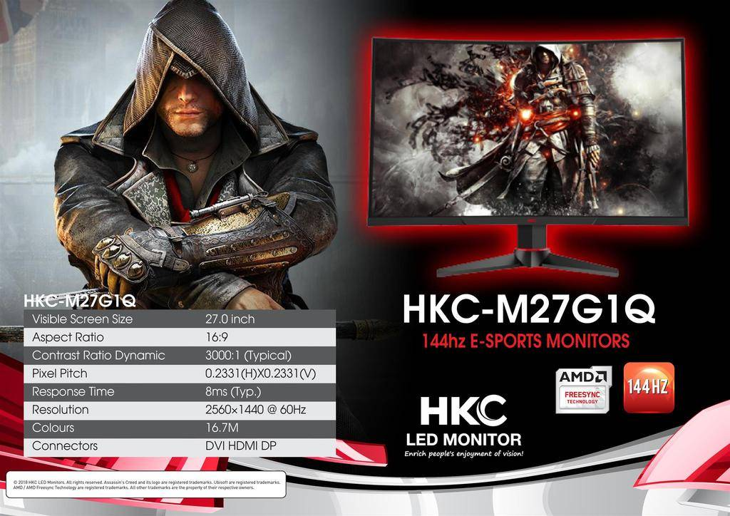 HKC M27G1Q 27inch Curved 2560X1440 144hz Freesync dvi hdmi dp