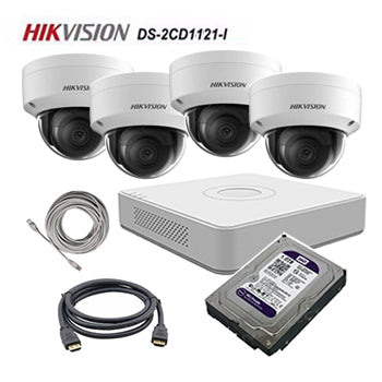 HikVision (package) 4CH POE NVR (DS-7104NI-E1), 4 Dome Cameras