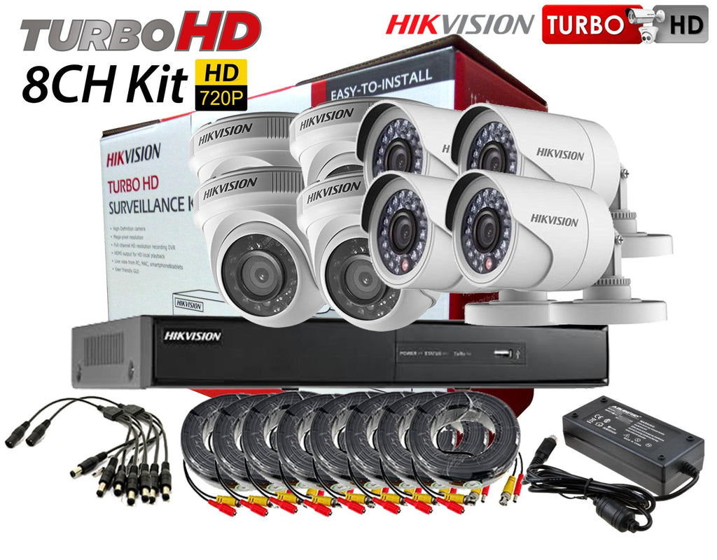 Hikvision (Package) TVI-8CH4D4B-1MP 8channel DVR, 4x Dome, 4x Bullet Camera