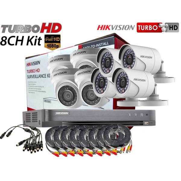 Hikvision (Package) TVI-8CH4D4B-2MP 8channel DVR, 4x Dome, 4x Bullet Camera