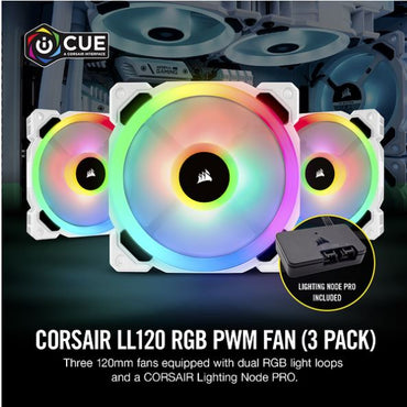 Corsair LL120 RGB 120mm RGB Dual Light Loop 3-Pack White PWM Fan CO-9050092-WW