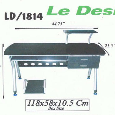 Le Desk LD1814 Glass ivory black w/ drawer