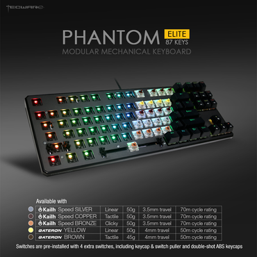 Tecware Phantom Elite TKL RGB Mechanical Keyboard Kaihl Switch Speed