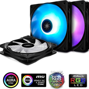 Deepcool RF120M 3-in-1 3X120mm RGB LED PWM Fans with Fan Hub and Extension