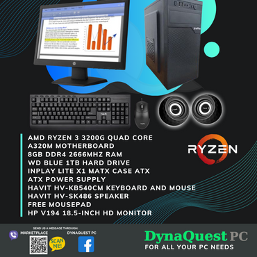 AMD Ryzen 3 3200G Vega 8 Graphics 4 Core 8GB/1TB/ 18.5-in Monitor/KB/Mouse/Spkr Package Desktop