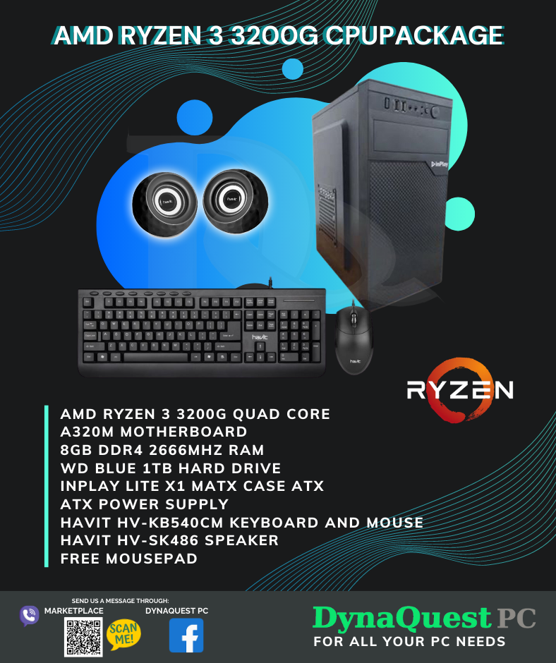 AMD Ryzen 3 3200G Vega 8 Graphics 4 Core 8GB/1TB/kb/mouse/spkr CPU Package