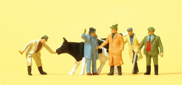 Preiser 14039 00/H0 Cattle At Market with Figures Model Railway Figures - SGS Model Store