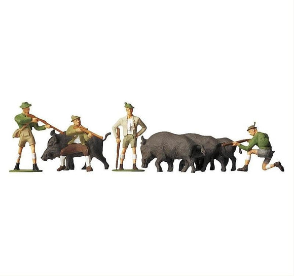Faller 151039 00/H0 Hunters and Animals Model Railway Figure Set - SGS Model Store