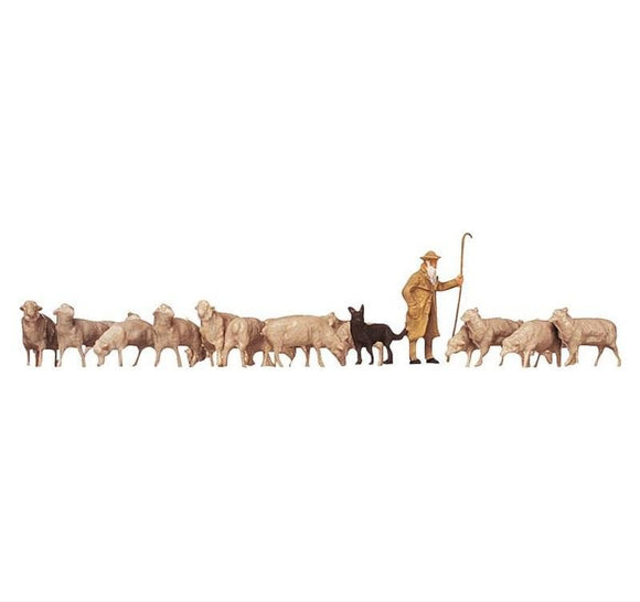 Faller 154001 00/H0 Shepherd, Dog & Sheep Model Railway Figure Set - SGS Model Store