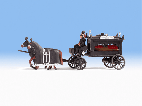 Noch 16714 H0 Scale Horse Drawn Hearse Coach Model Railway Figures - SGS Model Store