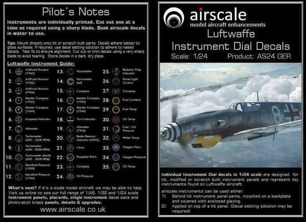 Airscale AS24GER 1/24 Luftwaffe WWII Instruments Model Decals - SGS Model Store