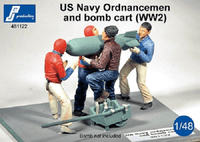 PJ Production 481122 1/48 US Navy Ordnance men and bomb cart Resin Figures - SGS Model Store