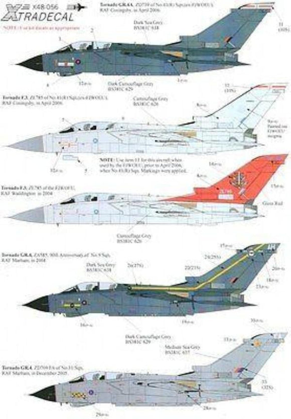 Xtradecal X48056 1/48 Panavia Tornado Up Date 2006 Model Decals