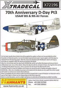 Xtradecal X72196 1/72 D-Day 70th Anniversary Pt 3 USAAF Model Decals - SGS Model Store