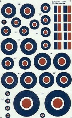 Xtradecal X48029 1/48 RAF National Insignia/Roundels C Type Sizes Model Decals - SGS Model Store