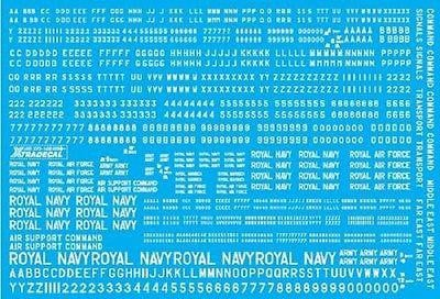 Xtradecal X72158 1/72 RAF 4, 6, 8 and 12 inch White Letters, Numerals and Titles - SGS Model Store