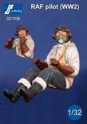 PJ Production 321108 1/32 RAF Pilot WWII seated in aircraft Resin Figure - SGS Model Store