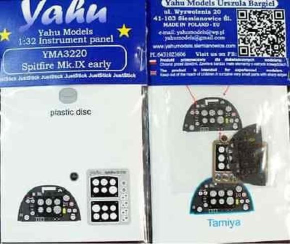 Yahu Models YMA3220 1/32 Spitfire Mk.IXc early Instrument Panel for Tamiya - SGS Model Store