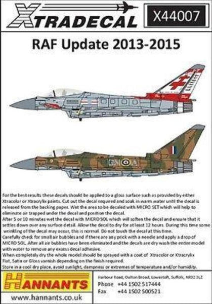 Xtradecal X44007 1/144 RAF Update 2013-2015 Model Decals - SGS Model Store