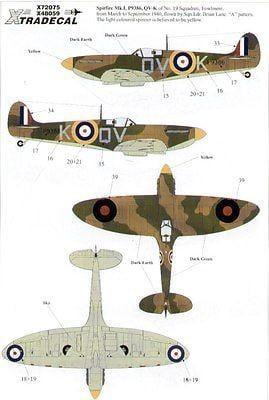 Xtradecal X72075 1/72 Supermarine Spitfire Mk.I/Mk.II Model Decals - SGS Model Store